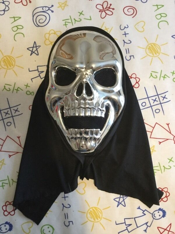 hooded chrome skull mask halloween zombie horror fancy dress