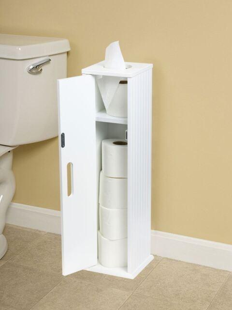 Delightful White Wood Free Standing Toilet Paper Roll Holder Bathroom Storage Cabinet
