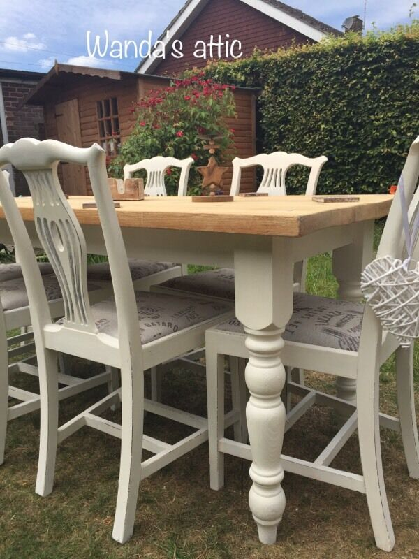 Hand Painted Shabby Chic Farmhouse Table And 6 Chairs Part 66