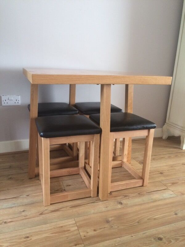 Square Table For 4 Part - 48: Square Table With 4 Stools Stored Underneath