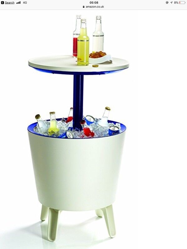 Delicieux Keter Cool Bar Plastic Outdoor Ice Cooler Table Garden Furniture   Cream  Blue