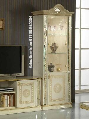 Versace Design Italian Cream/Gold 1 Door Vetrine/Display Cabinet