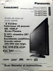 Télévision Panasonic `écran plasma 42 pouces