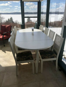 White Dinning Room Table with Eight Chairs