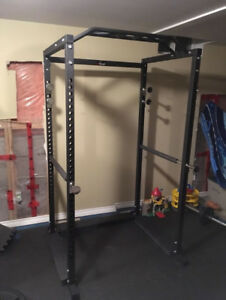 Power Squat Rack / Full Cage w Safety Spotters and Monkey Bar