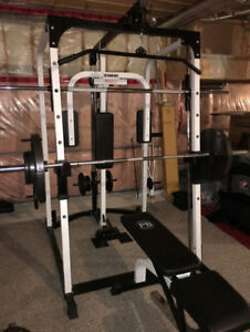 Smith Machine Power Rack Lat Pec Deck Bench Leg Preacher Weights