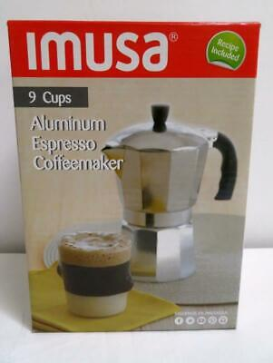 IMUSA 9 Cup Aluminum Espresso Coffeemaker with Cool Touch Handle, Instrucs NEW