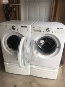 Lg front load washer dryer with pedestal for sale
