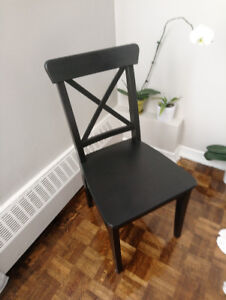 Dining Office Chair Black Solid Wood Like New Condition