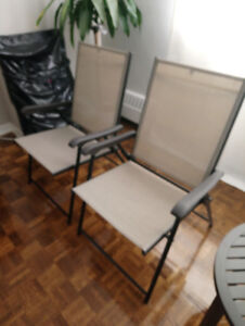 Foldable Balcony Patio Basement Chairs Like New Set of 4