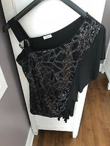 947618c6ffcd7 LADIES BLACK LAURA FANCY SEQUENCE DRESSY TOP - SIZE LARGE 12 14