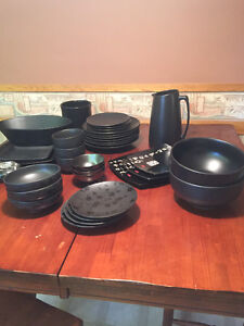 Black dishes and serving wear