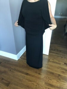 LADIES LAURA BLACK FITTED LONG FANCY DRESS SIZE 14 - LIKE NEW