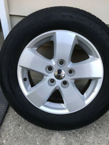4x (Pneus + Mags + TPMS) Genuine Dodge Journey 2016 17po