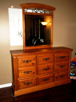 Pine 9 drawer dresser with mirror and matching night table