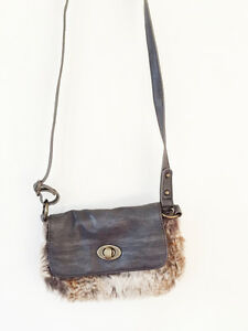 Zara Faux Leather Fur Shoulder Bag