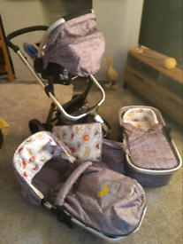 """Cosatto whoosh 2 """"Dawn Chorus"""" baby Travel System 9 mths old & isofix"""