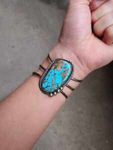 HUGE Vintage Navajo Turquoise Sterling Silver Bracelet
