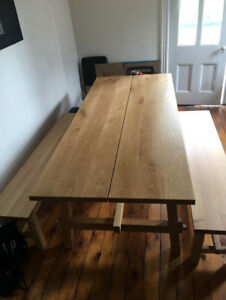 Beautiful Large Solid Oak Table and 2 Benches