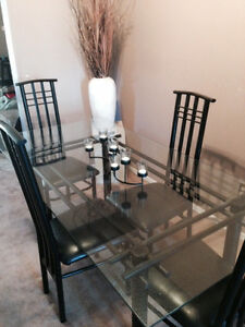 Black and glass dining table