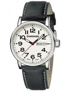 Wenger Men's Attitude White Dial Black Leather Strap Swiss Watch