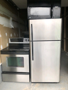 Can deliver/Frigidaire stainless steel fridge stove & microwave