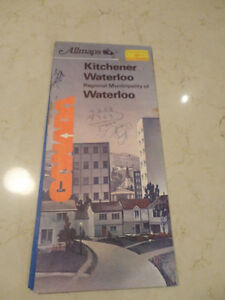 Vintage Kitchener Waterloo Local Map by Allmaps from 1980's.