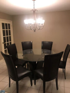 Dining Set Round Glass Top Table + Six (6) Chairs