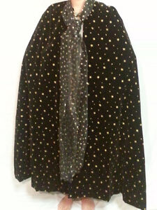 Halloween Costume Wizard Cloak Witches Cape Velvet Black Gold Ad