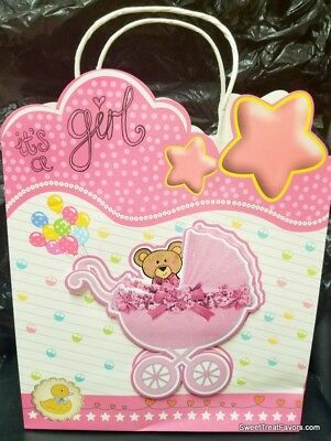 Pink Baby Girl Shower Party SWEET LARGE GIFT BAG 3D Stroller Birthday 12x10 Bear