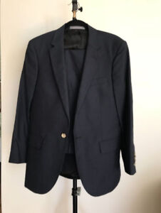 Navy blue linen Indochino suit, men's dress suit jacket, pants