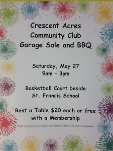 Crescent Acres Community Club Garage Sale & BBQ