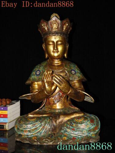 Tibet temple bronze Cloisonne Maitreya Bodhisattva KwanYin GuanYin Buddha Statue