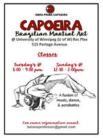 Capoeira class at the Rec Plex - University of Winnipeg.