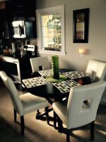 4 White leather chairs with dark brown dining table!!
