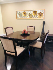 5 piece dining table, side stool and wicker vase. $370
