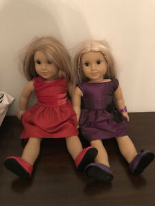 American Girl (2) Dolls (Julie) and Box of AG Clothes