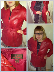 Red Danier Jacket Coat Leather Lined