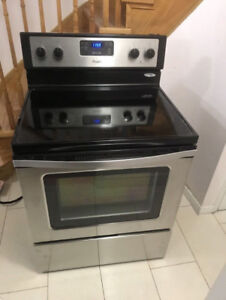 Whirlpool stainless steel glass top stove for sale