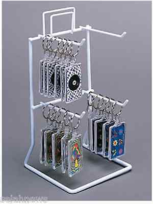 Counter Peg Hook Key Chain Display Rack - 2 Tier 4 Peg Hook (White)