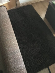Area rug dark brown