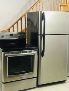 Stainless steel fridge 30w30d66h and 30 stove For Sale