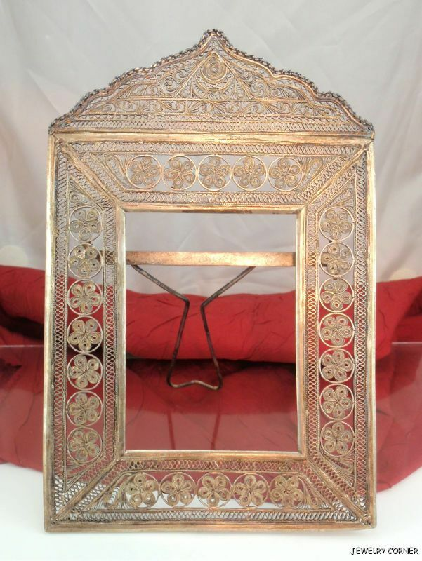 Antique Vintage Persian .900 Silver Filigree Wedding Mirror Frame