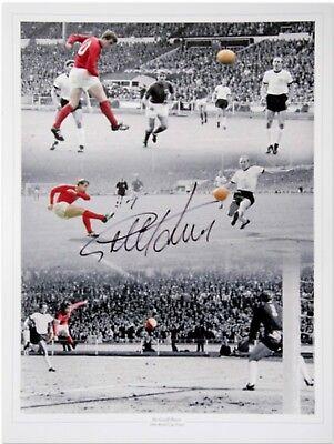 Sir Geoff Hurst England 66 Signed Photo Montage  All 3 Goals Superb £12