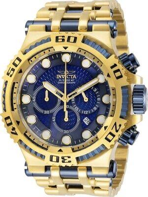 Invicta Mens Chaos 50MM Blue Dial 300M Diver Chrono Gold-Tone SS Bracelet Watch