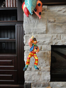 One Of A Kind Paper Mache Clown w/Hanging Balloons From Mexico