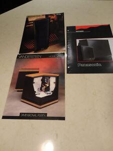 Set of 3 Vintage 90s Audiophile Equipment Brochures- Vandersteen Kitchener / Waterloo Kitchener Area image 1