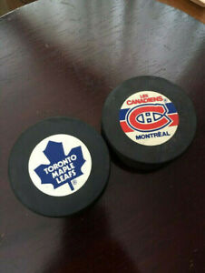 1980s Toronto Maple Leafs & Montreal Canadiens NHL Game Pucks