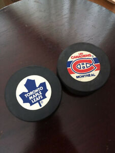 1987 Toronto Maple Leafs & Montreal Canadiens NHL Game Pucks