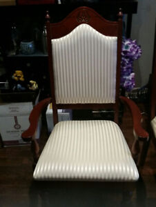 Six luxury high back dining chairs in Ivory apholstery /cherry